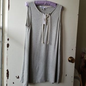 NWT Grey and White Stripped Short Sleeve Dress